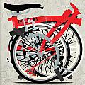 Folded Brompton Bike Print by Andy Scullion
