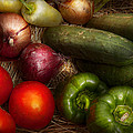 Food - Vegetables - Onions Tomatoes Peppers and Cucumbers Print by Mike Savad