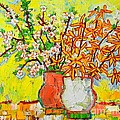 FORSYTHIA AND CHERRY BLOSSOMS SPRING FLOWERS Poster by ANA MARIA EDULESCU