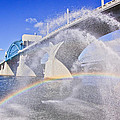 Fountains and the Market Street Bridge Print by Tom and Pat Cory