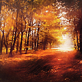 Four Seasons Autumn Impressions At Dawn Print by Zeana Romanovna