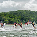 Fourth of July Water Skiers Poster by Susan Leggett