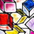 Fractalius cubes Print by Sharon Lisa Clarke