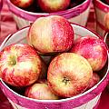 Fresh Apples in Buschel Baskets at Farmers Market Print by Teri Virbickis