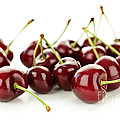 Fresh cherries on white Print by Elena Elisseeva