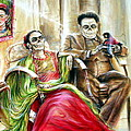 Frida and Diego with Pet Monkey Poster by Heather Calderon
