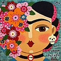 Frida Kahlo with Flowers and Skull Poster by LuLu Mypinkturtle