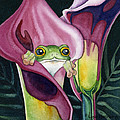 Frog in Pink Calla Lily Print by Lyse Anthony