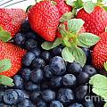 Fruit 2- Strawberries - Blueberries Print by Barbara Griffin