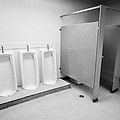full length urinals and cubicles in mens toilet of High school canada north america Print by Joe Fox