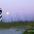 Full Moon at Hatteras Poster by Laurinda Bowling
