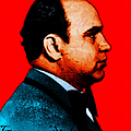 Gangman Style - Al Capone c28169 - Red - Painterly Print by Wingsdomain Art and Photography