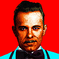 Gangman Style - John Dillinger 13225 - Red - Color Sketch Style Print by Wingsdomain Art and Photography
