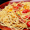 Garlic Pasta And Grape Tomatoes Poster by Andee Design