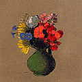 Geraniums and flowers of the field Print by Odilon Redon