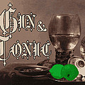 Gin and Tonic Vintage Advertisement With Lime Print by