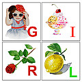GIRL Art Alphabet for Kids Room Print by Irina Sztukowski