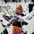 Girl with Pigeons Print by Heiko Koehrer-Wagner
