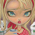 Girl with Two Cats Poster by Jacquelin Vanderwood