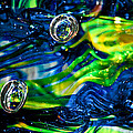 Glass Macro - Seahawks Blue and Green -13E4 Print by David Patterson