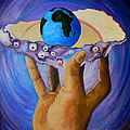 GOD'S Little Blue Pearl Of Great Price Print by Pamorama Jones