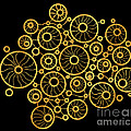 Golden Circles Black Print by Frank Tschakert