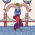 Golden Gate Lady and Wine Print by Michael Friend