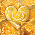 Golden Heart Of Roses Print by Alixandra Mullins