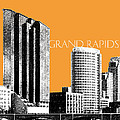 Grand Rapids Skyline - Orange Print by DB Artist