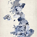 Great Britain UK Watercolor Map Poster by Michael Tompsett