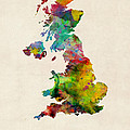 Great Britain Watercolor Map Print by Michael Tompsett