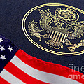 Great Seal of the United States and American Flag Print by Olivier Le Queinec