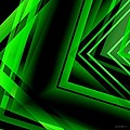 Green Abstract Geometric Print by Mario  Perez