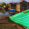 Green boat Peggys Cove Poster by Garry Gay