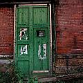 Green Door on Red Brick Wall Print by Amy Cicconi