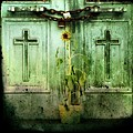 Green Doors Print by Gothicolors Donna Snyder