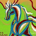 Green Horse Print by Genevieve Esson