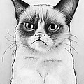 Grumpy Cat Portrait Print by Olga Shvartsur
