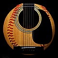 Guitar Baseball Square Print by Andee Photography