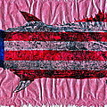 Gyotaku - American Spanish Mackerel - Flag Print by Jeffrey Canha