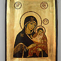 Handpainted orthodox holy icon Madonna with child Jesus Print by Denise Clemenco