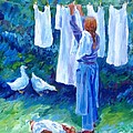Hanging the Whites  Print by Trudi Doyle