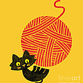 Happiness cat and yarn Poster by Budi Satria Kwan