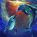 Happy Dolphins Print by Marco Antonio Aguilar