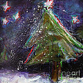 Happy Holidays Red and Blue Wishing Stars Print by Johane Amirault