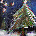 Happy Holidays Silver and Red Wishing Stars Print by Johane Amirault