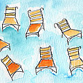 Happy Orange Chairs Poster by Linda Woods
