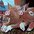 Happy Pigs Poster by Dona Davis