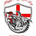 Happy St George Stand Tall Proud to be English Retro Poster Poster by Aloysius Patrimonio