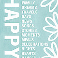 Happy Things Blue Poster by Linda Woods